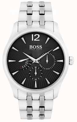 Hugo Boss Mens comandante de aço inoxidável mostrador preto 1513493