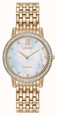 Citizen Womans eco-drive silhueta cristal subiu ouro EX1483-50D