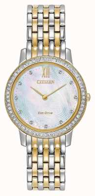 Citizen Cristal de silhueta eco-drive da mulher | ouro / prata bicolor | EX1484-57D