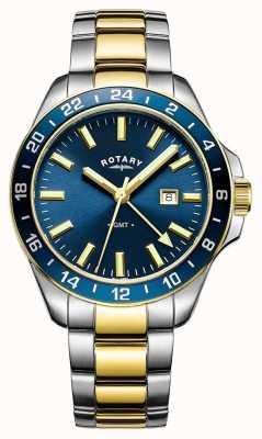 Rotary Mens havana gmt dois tons azul GB05082/05
