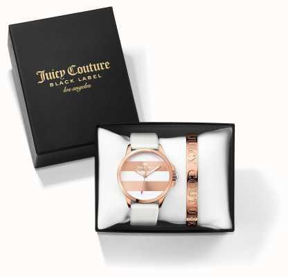 Juicy Couture Womans fergi branco rosa ouro pulseira relógio dom conjunto 1950007