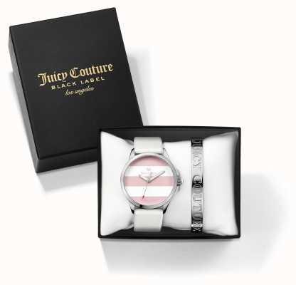 Juicy Couture Womans fergi pulseira de prata branca e relógio dom conjunto 1950009