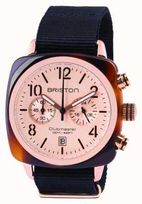 Briston Mens clubmaster clássico acetato chrono ouro rosa 14140.PRA.T.6.NB