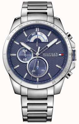 Tommy Hilfiger Decker pulseira de aço inoxidável | mostrador azul 1791348