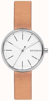 Skagen Mulher, signatur, luz, marrom, couro, branca, disque SKW2594