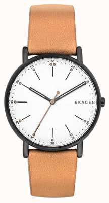 Skagen Mens signatur pulseira de couro marrom claro mostrador branco SKW6352