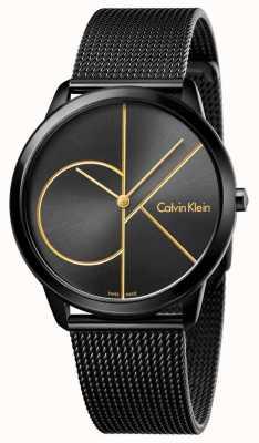 Calvin Klein Malha de aço inoxidável preto mínimo Mens K3M214X1