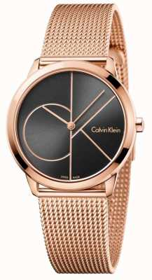 Calvin Klein Bracelete de malha de ouro rosa mínima da mulher K3M22621