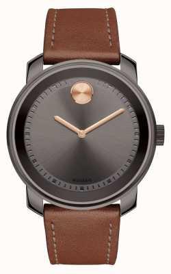 Movado Bold mens pulseira de couro marrom mostrador cinza 3600378