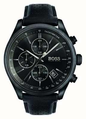 Hugo Boss Mens grand prix cronógrafo pulseira de couro preto mostrador preto 1513474