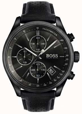 Boss Mens grand prix cronógrafo pulseira de couro preto mostrador preto 1513474