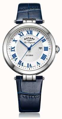 Rotary Womens lucerne pulseira de couro azul mostrador branco LS90197/01L