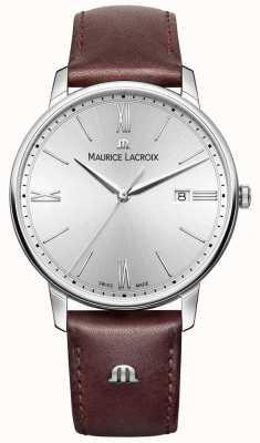 Maurice Lacroix Mens eliros pulseira de couro marrom mostrador prateado EL1118-SS001-110-1