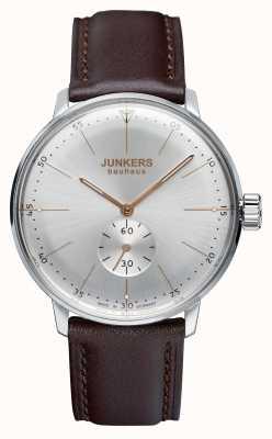 Iron Annie Mens bauhaus handwound pulseira de couro prata dial 6032-5