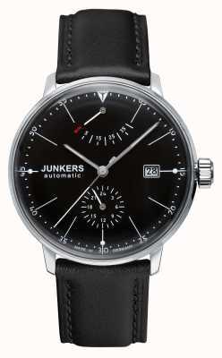 Junkers Mens bauhaus pulseira de couro preto automático mostrador preto 6060-2