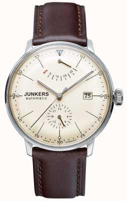 Junkers Mens bauhaus pulseira de couro marrom automática mostrador bege 6060-5