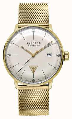 Junkers Dial bauhaus mens tom de aço inoxidável de malha de ouro bege 6072M-5