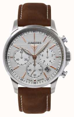 Junkers Mens tante ju cronógrafo pulseira de couro marrom mostrador prateado 6878-4