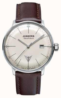 Junkers Mens bauhaus marrom pulseira de couro bege 6070-5