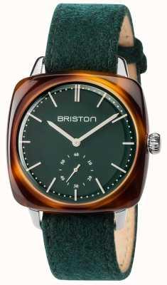 Briston Mens clubmaster verde tecido verde pulseira de discagem verde 17440.SA.TV.16.LFBG