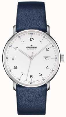 Junghans Forme uma pulseira azul de bezerro com números 027/4735.00