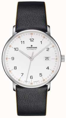 Junghans Forme uma pulseira preta de bezerro com números 027/4731.00