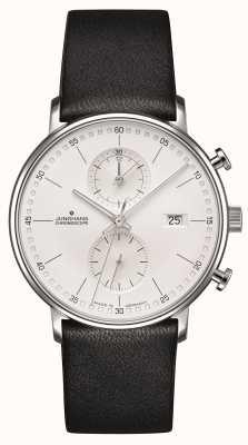 Junghans Forma c pulseira preta de vitelo cronoscope 041/4770.00
