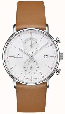 Junghans Forma c pulseira marrom de vitelo cronoscope 041/4774.00