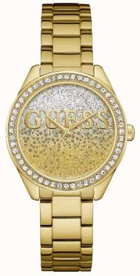 Guess Womens glitter girl gold tom de aço W0987L2