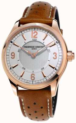 Frederique Constant Mens horological smartwatch bluetooth pulseira de couro marrom FC-282AS5B4