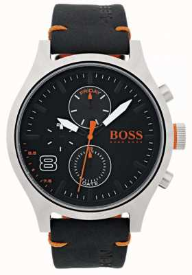 Hugo Boss Orange Mens couro preto amsterdam 1550020