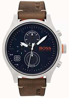 Hugo Boss Orange Mens couro marrom amsterdam 1550021