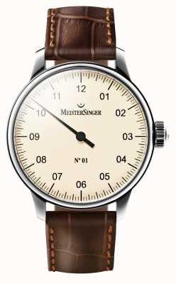 MeisterSinger Mens no 01 mostrador creme de couro marrom mecânico cinta AM3303