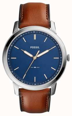 Fossil Couro marrom minimalista dos homens FS5304