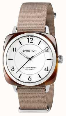 Briston Unisex clubmaster chique acetato de aço bege com pulseira nato 17536.SA.T.2.NT