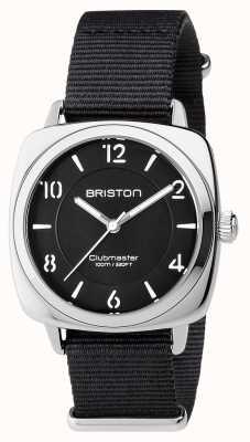Briston Aço preto chique clubmaster unisex com pulseira nato 17536.S.L.1.NB