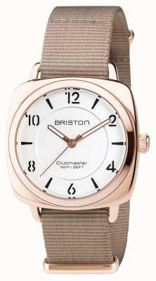 Briston Aço chique Clubmaster - mostrador branco dourado hms 17536.SPRG.L.2.NT