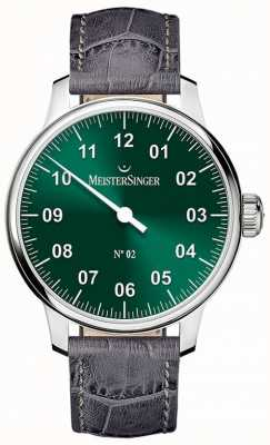 MeisterSinger Mens clássico não. Mão 2 sunburst ferida verde AM6609N