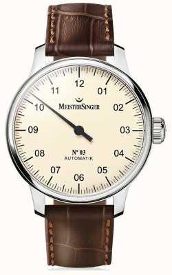 MeisterSinger Mens clássico não. 3 marfim automático AM903