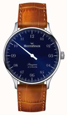 MeisterSinger Mens clássico pangea sunburst automático azul PM908