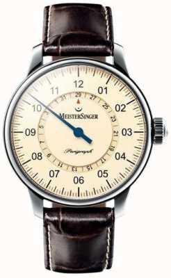 MeisterSinger Mens classic pluse perigraph marfim automático AM1003