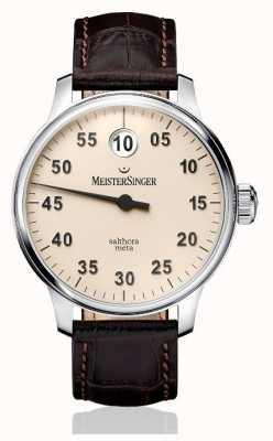 MeisterSinger Mens clássico mais salthora meta marfim automático SAM903