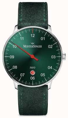 MeisterSinger Mens forma e estilo neo além de sunburst automático verde NE409