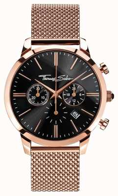 Thomas Sabo Mens eterno rebelde rosa banhado a ouro malha pulseira crono WA0246-265-203-42