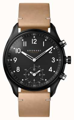Kronaby Caixa do pvd do preto do bluetooth do apex 43mm / smartwatch de couro bege A1000-0730
