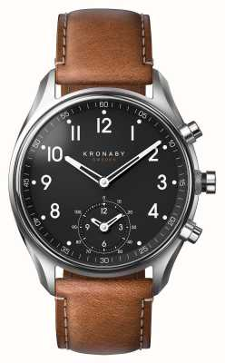 Kronaby Smartwatch de couro marrom do bluetooth do apex 43mm A1000-0729