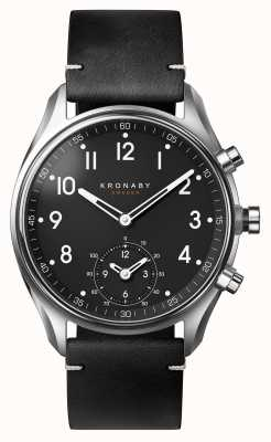 Kronaby Smartwatch da correia de couro do preto do bluetooth do apex 43mm A1000-1399