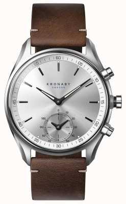 Kronaby Smartwatch de couro marrom escuro de 43mm sekel bluetooth A1000-0714
