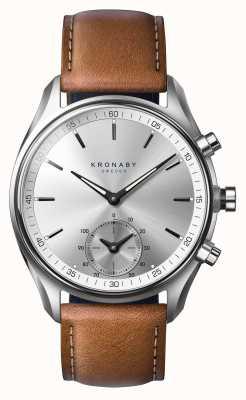 Kronaby Smartwatch de couro marrom curtido de 43mm sekel bluetooth A1000-0713