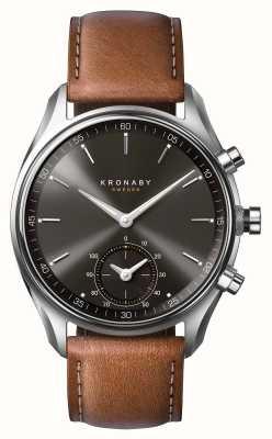 Kronaby 43mm sekel bluetooth marrom couro preto discagem smartwatch A1000-0719